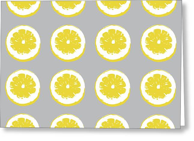 Lemon Slices On Grey- Art By Linda Woods Greeting Card