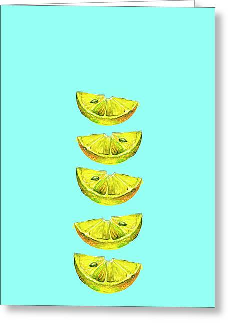 Lemon Slices Turquoise Greeting Card