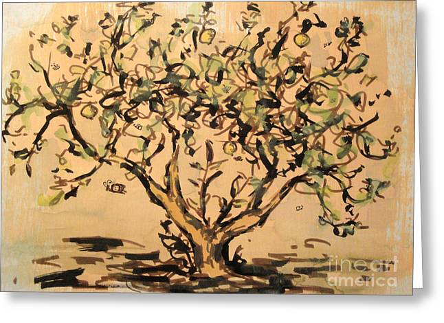 Greeting Card featuring the painting Lemon Tree by Maria Langgle