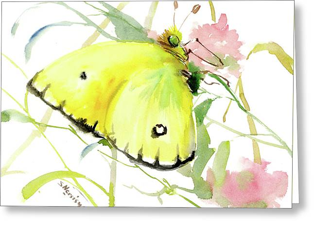 Lemon Yellow Butterfly Greeting Card by Suren Nersisyan