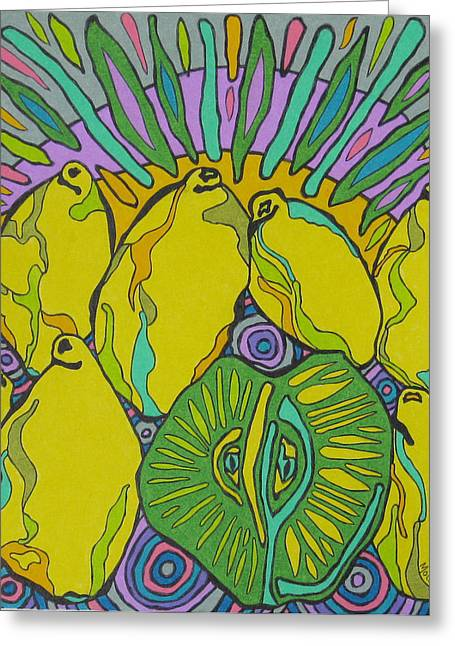 Lemons And A Lime Greeting Card by Molly Williams