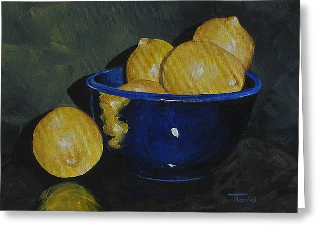 Lemons And Blue Bowl IIi Greeting Card