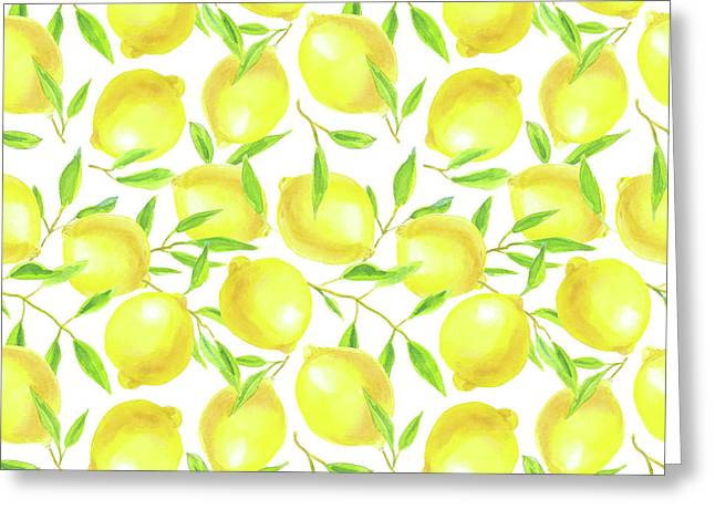 Lemons And Leaves  Pattern Design Greeting Card