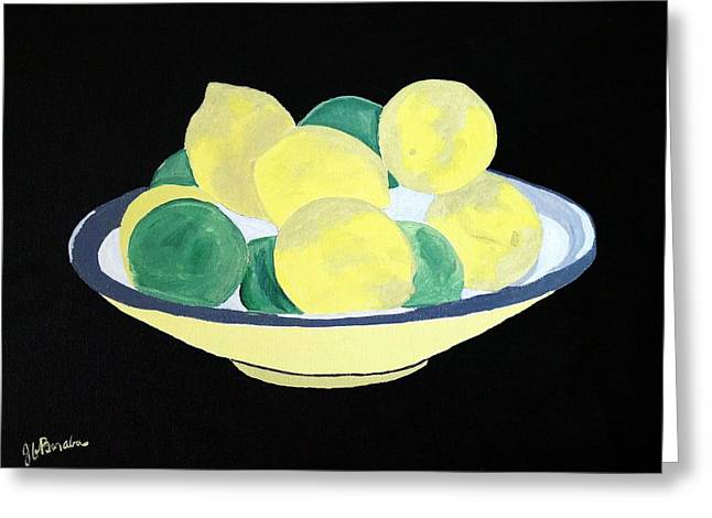 Lemons And Limes In Bowl Greeting Card