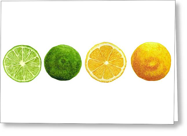 Lemons And Limes Greeting Card by Kathleen Skinner