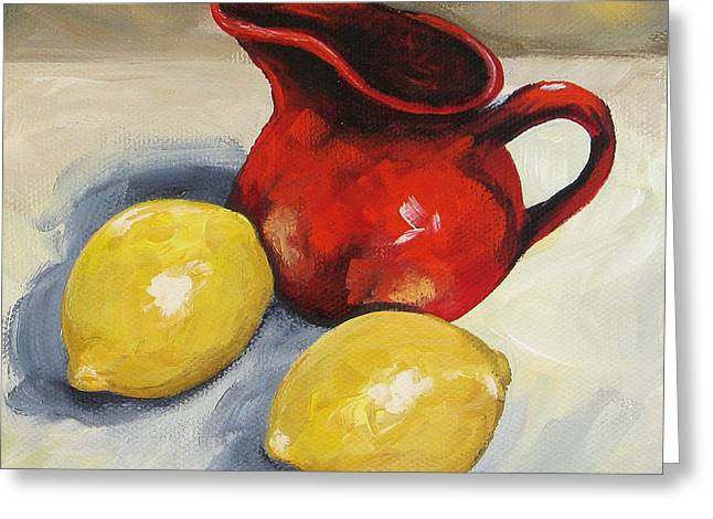 Lemons And Red Creamer Greeting Card by Torrie Smiley