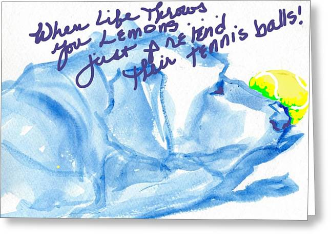 Lemons And Tennis Balls Greeting Card by Sheila Wedegis