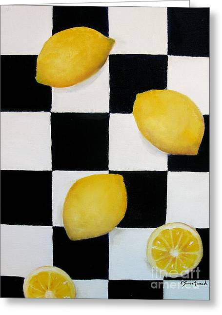 Greeting Card featuring the painting Lemons by Carol Sweetwood