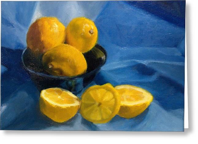 Lemons In Blue Bowl Greeting Card by Stephanie Allison