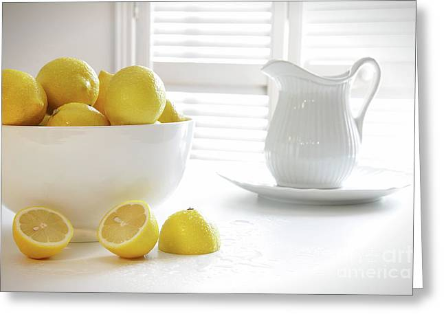 Lemons In Large Bowl On Table Greeting Card