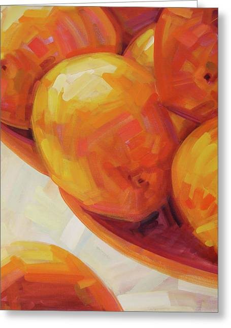 Wine Reflection Paintings Greeting Cards - Lemons in Natural Light III Greeting Card by Penelope Moore