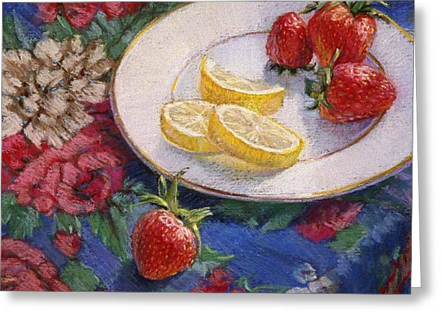 Lemon Art Pastels Greeting Cards - Lemons n Berries Greeting Card by L Diane Johnson