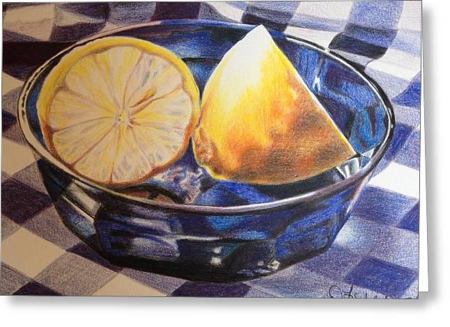 Lemons On Blue Greeting Card by Debbie Fischer