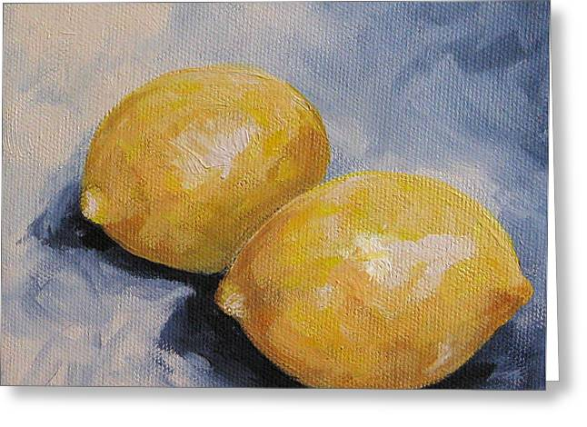 Lemons On Blue  Greeting Card by Torrie Smiley