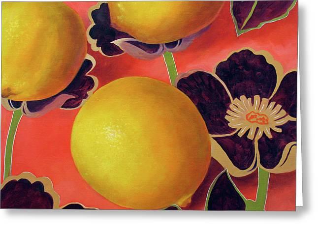 Lemons On Persimmon Greeting Card by Marina Petro