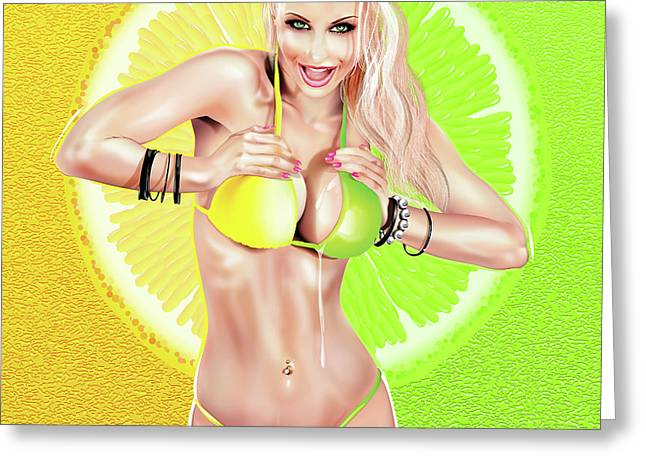 Greeting Card featuring the digital art Lemons Or Limes by Brian Gibbs