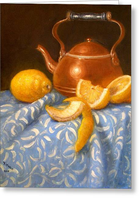 Lemons With Copper Teapot Greeting Card by Donelli  DiMaria