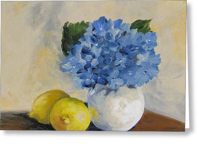 Lemons With Hydrangea Greeting Card by Torrie Smiley