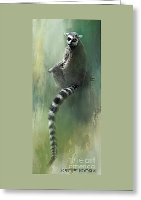 Lemur Catching Rays Greeting Card by Kathy Russell