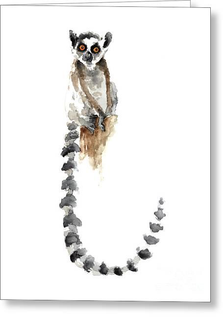 Lemur Watercolor Art Print Poster Greeting Card by Joanna Szmerdt