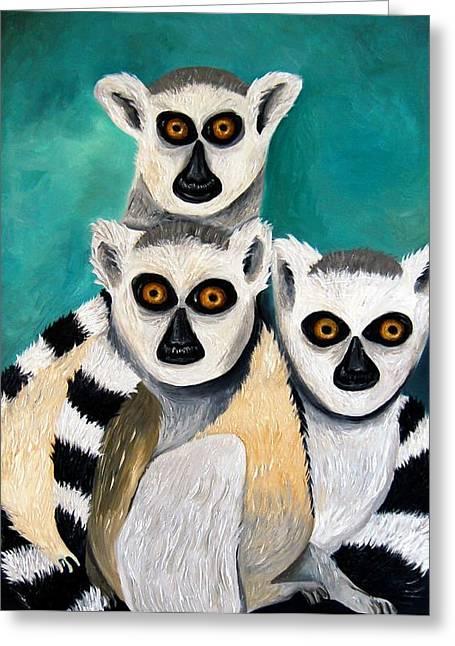 Lemurs Greeting Card by Leah Saulnier The Painting Maniac