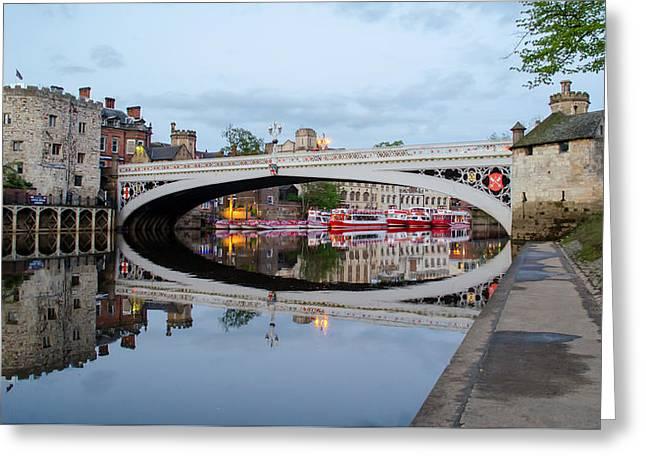Lendal Bridge Reflection  Greeting Card