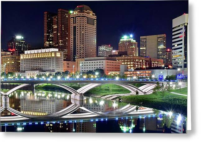 Lengthy Columbus Nightscape Greeting Card by Frozen in Time Fine Art Photography