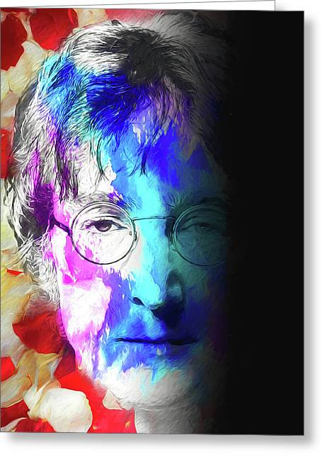 Greeting Card featuring the digital art Lennon by John Haldane