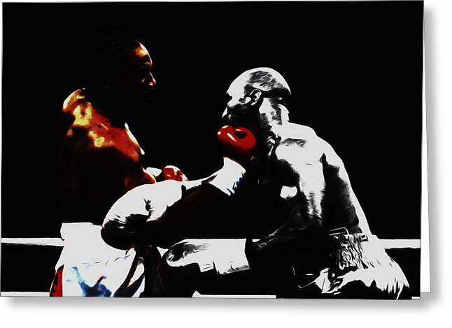 Lennox Lewis And Holyfield 3f Greeting Card