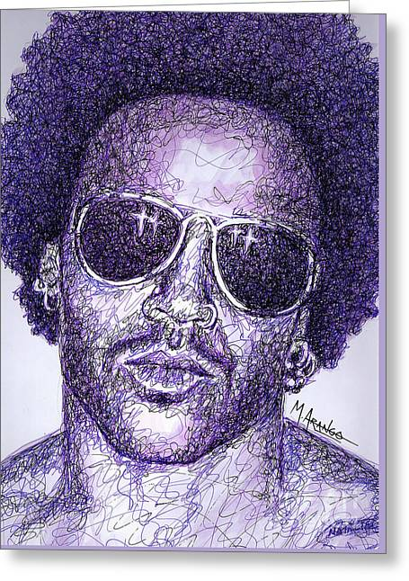 Lenny Kravitz Greeting Card by Maria Arango