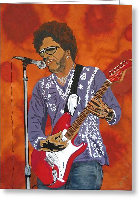 Lenny Kravitz-the Rebirth Of Rock Greeting Card by Bill Manson