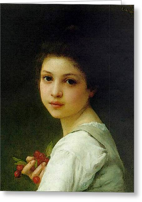Lenoir Charles Amable Portrait Of A Young Girl With Cherries Greeting Card