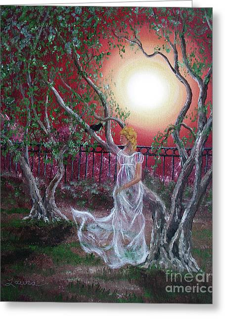 Lenore By An Olive Tree Greeting Card by Laura Iverson