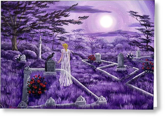Lenore In Lavender Moonlight Greeting Card by Laura Iverson