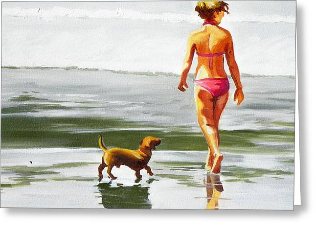 Leo And Kara On The Shore Greeting Card by Rhondda Saunders