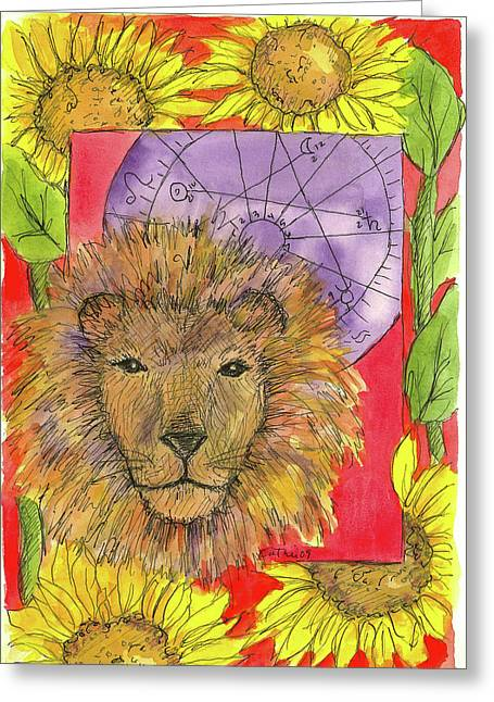 Greeting Card featuring the painting Leo by Cathie Richardson
