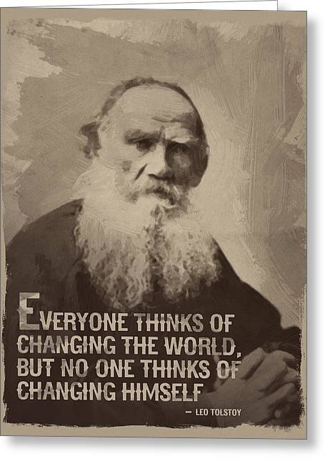 Leo Tolstoy Quote Greeting Card by Afterdarkness
