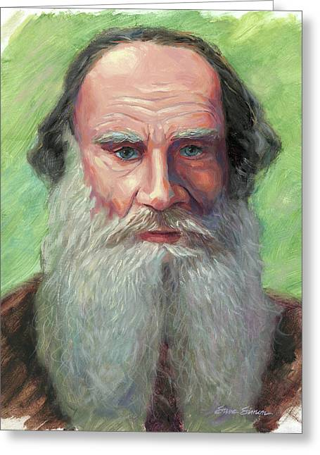 Leo Tolstoy Greeting Card by Steve Simon