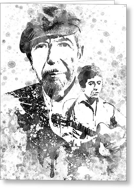 Leonard Cohen Black-white Greeting Card