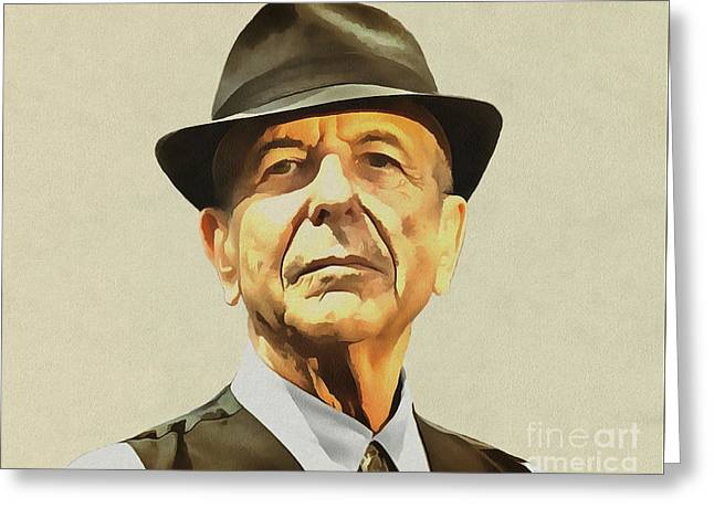 Leonard Cohen Greeting Card by Sergey Lukashin