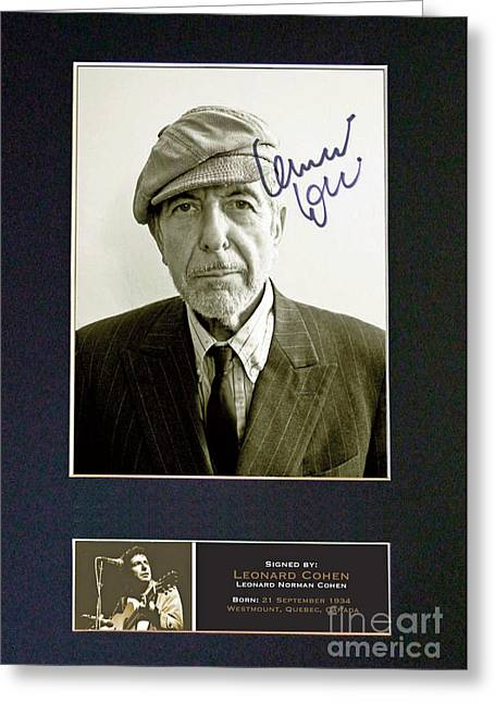 Leonard Cohen Signed Memorabilia Greeting Card by Pd