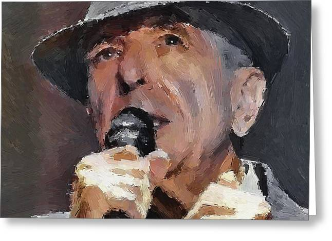 Leonard Cohen Tribute 2 Greeting Card by Yury Malkov