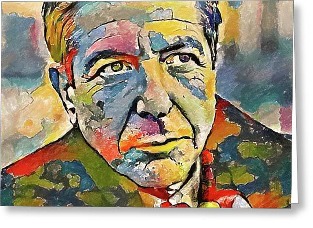 Leonard Cohen Tribute 3 Greeting Card by Yury Malkov