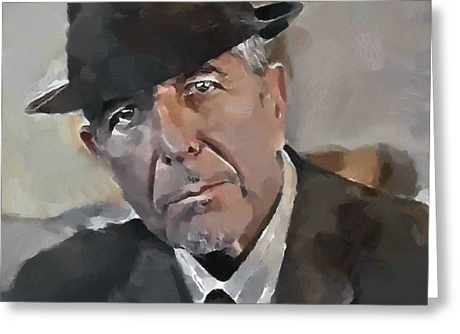 Leonard Cohen Tribute 4 Greeting Card by Yury Malkov