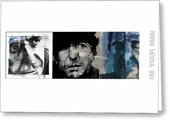 Leonard Cohen Triptych Greeting Card