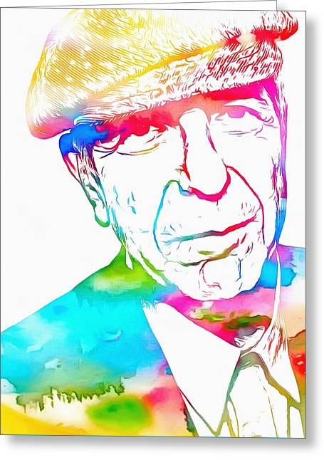 Leonard Cohen Watercolor Paint Greeting Card