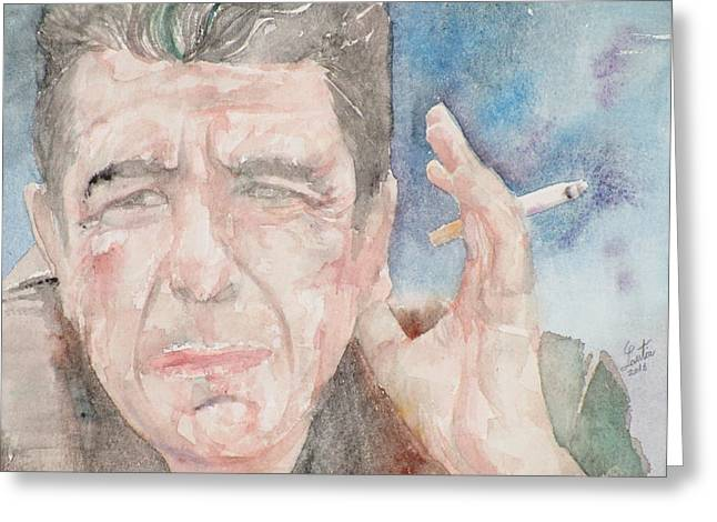 Leonard Cohen - Watercolor Portrait.1 Greeting Card