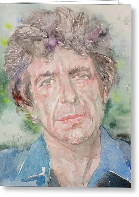 Leonard Cohen - Watercolor Portrait.2 Greeting Card