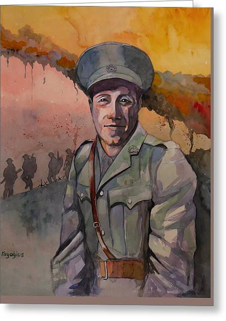 Greeting Card featuring the painting Leonard Keysor Vc by Ray Agius