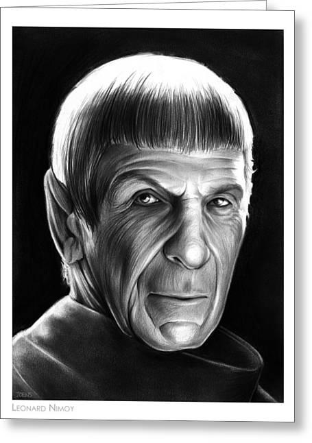 Spock Drawings Greeting Cards - Leonard Nimoy Greeting Card by Greg Joens